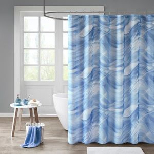 🆕 Madison Park Blue & White Lined Shower Curtain